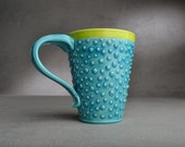 Dottie Coffee Mug Ready To Ship Caribbean Blue Neon Green Dottie Mug