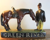 Vintage Whisky Bar Advertisement - Kentucky Green River Whiskey Chalkware Advertising Statue Sign - Man Cave