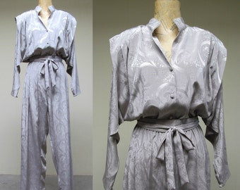 Vintage 1980s Jumpsuit / 80s Gray Jacquard Moonage Daydream Disco Jumpsuit / Medium