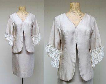 Vintage 1960s Suit / 60s Bone Silk and Lace Cocktail Suit / Small
