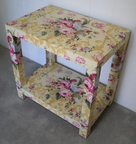 Custom Upholstered Side Table with Shelf - Design Your Own