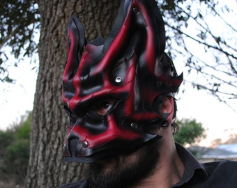 Ruby Alpha Wolf Leather Mask