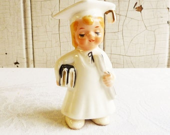 Vintage Girl Graduate Figurine  - Mid-Century 1950s - Made in Japan - White Cap and Gown, Carrying Books