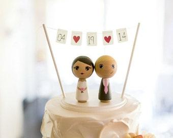 Custom Mini Kokeshi Doll Wedding Cake Toppers with Base and Bunting