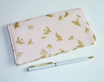 Checkbook Cover. Wallet. Receipt Holder. Flight in Cameo Pink, Metallic Gold, White, Birds, Chevron
