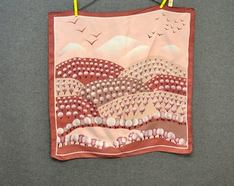 1970s Rosy Landscape Scarf