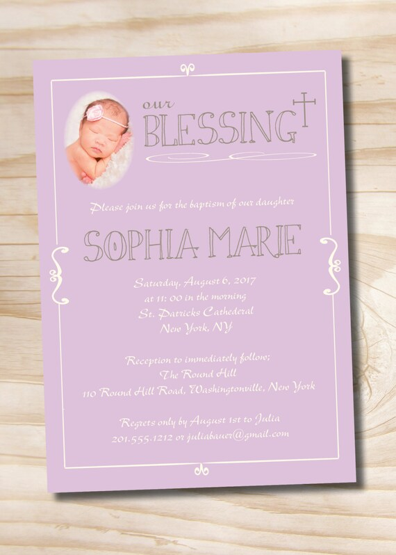 OUR BLESSING PHOTO Custom Baptism Invitation / Christening Communion Invitation - Printable digital file or printed invitations
