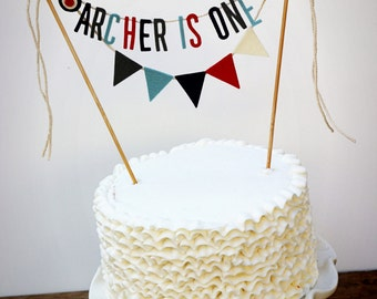 Personalized Cake Banner, Birthday Cake Garland, Birthday Cake Topper, Boy Smash Cake Banner, Nautical Cake Banner