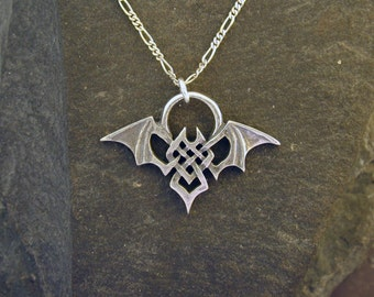 Sterling Silver Large Bat Pendant on a Sterling Silver Chain