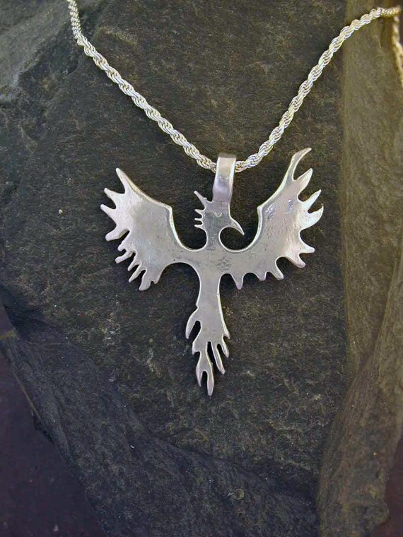 Sterling Silver  Phoenix Pendant on a Sterling Silver Chain