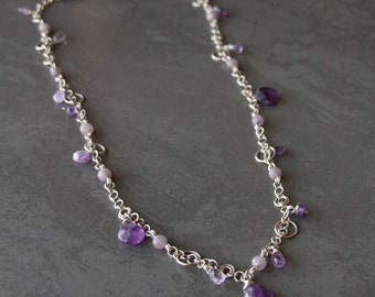 Amethyst sterling silver chain necklace. Gemstone beaded long chain necklace. Purple stone necklace with wire wrapped amethyst drops.