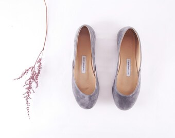handmade ash grey leather ballet flats | gray | wedding flats | leather shoes | ready to ship