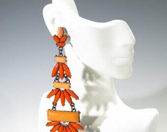 Earrings - Orange & Red Long and Large Dangle Earrings with Rhinestones - Cushion Backings Pierced