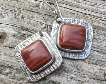 Fun, Modern, Red Earrings, Australian Print Stone, Sterling Silver, Casual, Square Earrings, Red Stripes, Metalsmith Earrings, Art Jewelry