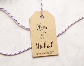 Favor Tags - Name Tags, Wedding Favor Tags, Gift Tags, Bridal Shower, Personalized Tags, Kraft Favor Tags - Set of 25 (SMGT-CAN)