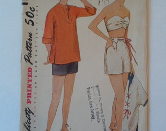 Vintage  1950s Simplicity women's  swim wear beach shirt bandeau and shorts sewing pattern