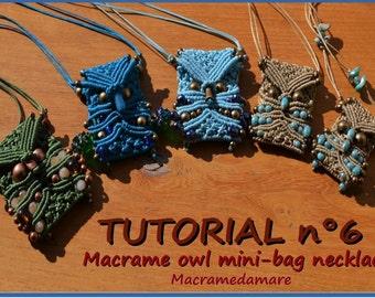 Tutorial n 6 Macrame owl mini-bag necklace /Micro-macrame pendant.