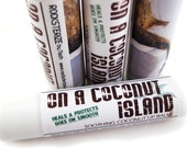 "Coconut Lip Balm - ""On A Coconut Island"" - vegan natural candelilla lip tube"