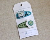 Girls hair clip White Owl on Turquoise blue and white daisy 2 pack 100% Wool Felt Snap clips
