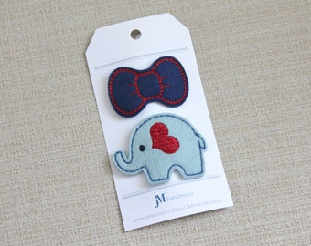 No slip baby or toddler elephant clip and bow
