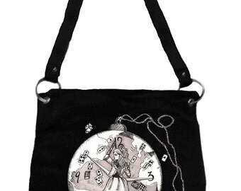 Alice in Wonderland Messenger Bag- Mad World Alice, Tim Burton Inspired, proceeds to Alzheimer's Association