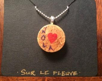 NOLA Love Wine Cork Pendant Necklace