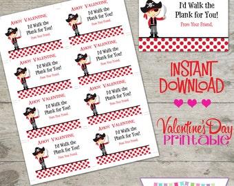 Valentine Pirate - Printable Valentine's Day Cards - INSTANT DOWNLOAD