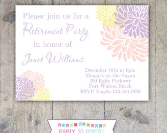 CHRYSANTHEMUM Retirement, Shower or Birthday 5x7 Party Invitation Printable
