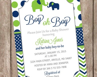Elephant Boy Oh Boy Baby Shower Invitation Navy and Lime Green printable invitation elephant baby shower boy baby shower invite LNCP-E