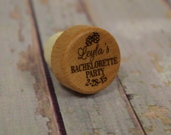 Bachelorette Party Personalized Wine Stopper - Shower Favors, Engraved Wood, wedding gift, bridal shower WS0110