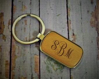 Monogram Personalized Wood Key Chain, Engraved Rectangular Key Ring, Monogram Key Ring