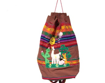 Vintage Colorful South American Drawstring Cinch Bag Backpack