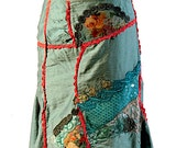 Reserved for TINA,Boho Skirt, With Romantic, Touches Added Fabric, Cuts with Tale, Embroidery Skirt, Upcycle Skirt, Artsy Skirt
