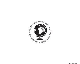 Housewarming Anniversary Wedding Gift Personalized Custom Return Address Rubber Stamp or Self Inking Travel - Destination World Globe Stamp
