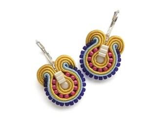 Colorful Earrings Rainbow Earrings Yellow Earrings Yellow Dangle Earrings Multicolor Earrings Yellow Drop Earrings Rainbow Soutache Earrings