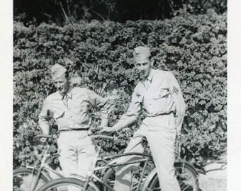 "Vintage Photo ""Soldier Bike Ride"" Military Bicycle Snapshot Photo Old Antique Photo Black & White Photograph Found Photo Paper Ephemera - 16"