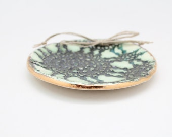 Green and Gold Ring Bearer Dish, Stoneware Ring Plate