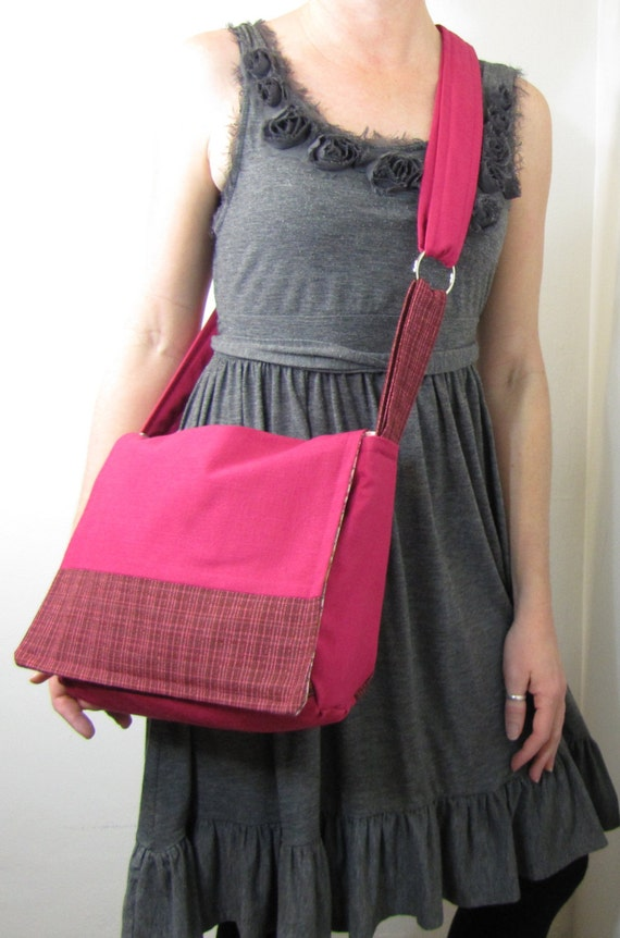 Messenger Bag Hot Pink Tweed for Women