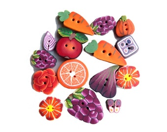 Polymer clay Fruit Veggie Flower BUTTONS, set of 15, purple orange red green polymer clay - DIY supplies supply, handmade millefiori buttons