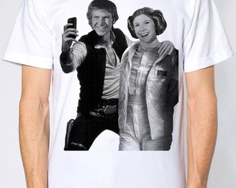 Star Wars selfie on mens t shirt- american apparel white, available in S,M, L ,XL, 2XL,  worldwide shipping