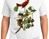 Summer Red Bird Retro Men & Ladies T-shirt - Gift for Bird Lovers and Ornithologist (idc044)