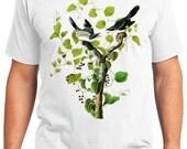 Loggerhead Shrike Bird Retro Men & Ladies T-shirt - Gift for Bird Lovers and Ornithologist (idc057)