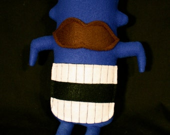 MINI MONSTER Theodore in Blue with a Mustache and a Big Smile