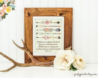 Children are a Gift from the Lord Print - Rustic Baby Nursery Printable Art - Watercolor Arrow Quiver Feathers Printable Wall Decor - 125