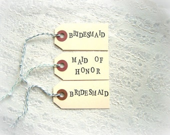 Bridesmaid or Maid of Honor SMALL Hand Stamped Manila Gift Tags / Thank You from the Bride, Unique Classic Literary Typewriter Font