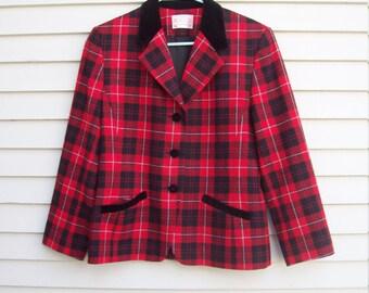 Pendleton Wool Red Plaid and Black Velvet Trimmed Equestrian Blazer