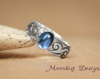 Sapphire Promise Ring with Wide Scroll Pattern Band in Sterling - Silver Unique Engagement or Anniversary Ring -  September Birthstone