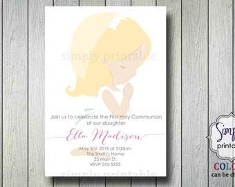 Little Girl First Communion Invitation