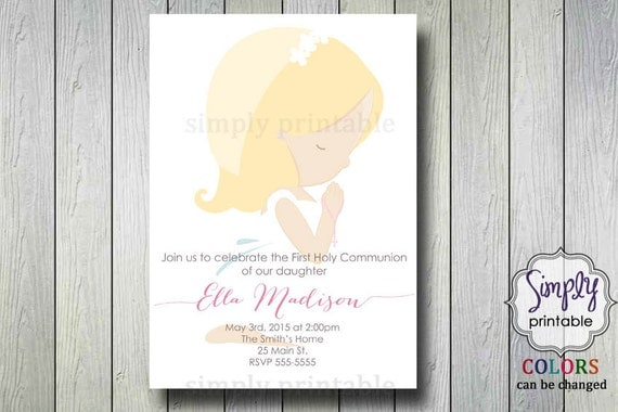 Little Girl First Communion Invitation