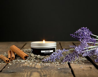 Ochre - Cinnamon and Lilac Scented Candle - 4 oz. Tin Soy Wax Candle